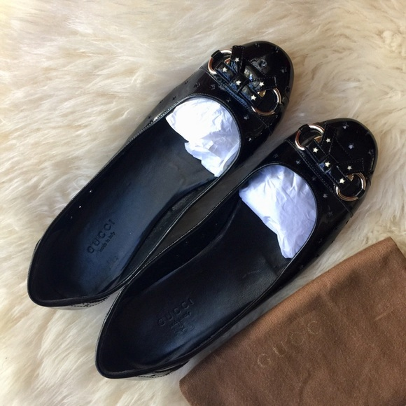 01770dcc1 Gucci Shoes | New Auth Black Patent Leather Ballet Flats | Poshmark